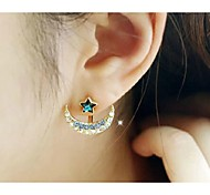 Love Is You The Moon Stars Pentagram Stud Earrings(Random Color)