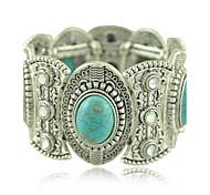 1PCS Fashion National Wind Turquoise Gem Carved Silver Bracelet