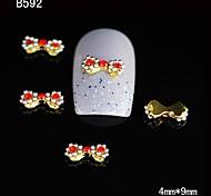 10pcs Cute Gold Alloy Bow Tie 3D Nail Rhinestone DIY Nail Art Decoration