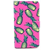 Pink Pineapple Pattern PU Leather Case with Stand Card Holder for Samsung Galaxy Note 4