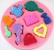Makeup Bag Comb Mirror Fondant Cake Silicone Mold Cake Decoration Tools,L10cm*W10cm*H1.2cm