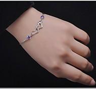 925  Women's Double Heart Print bracelet