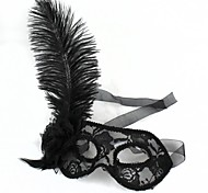 Plastic Black Ostrich Feathers Party Masks