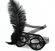 plástico penas de avestruz preto máscaras partido