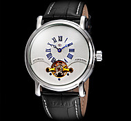 FORSINING Men's Tourbillon Elegant Dial Leather Band Automatic Self Wind Wrist Watch (Assorted Colors)