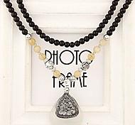 European Style Fashion Rhinestone Triangle Black Opal Beads Long Necklace
