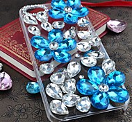 Blue Crystal of Love with Diamond Hard Back Cover for iPhone 4 /  iPhone 4S
