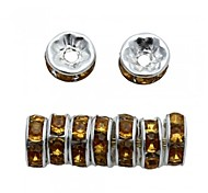 Fashion  DIY  Yellow Alloy Rhinestone Silver Plated Loose Spacer Bead 8MM (100pcs)