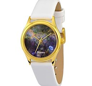 Personalized Women's Watch Citizen Movement Crescent Nebula Gold Case White Genuine Leather Belt JUST2YOU