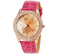 Women's Quartz Butterfly Dial Diamante Case PU Band Analog Fashion Watch