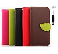 4.7 Inch Leaf Pattern Wallet Leather Case and Pen for HTC One M7(Assorted Colors)