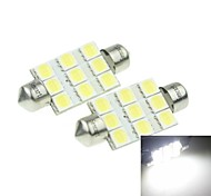 39MM(SV8.5-8) 3W 9x5054SMD 160-180LM 6000-6500K  White Light Led Bulb for Car License Plate Lamp 2PCS (DC12-16V)