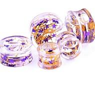 purple star Flüssigkeit Ohr plugstunnel messen Piercing Körperschmuck einen Satz von 2 12 mm