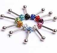 Stainless Steel CZ Shamballa Crystal Ball Body Piercin Tongue Ring Earring Girls Ear Stud CF049