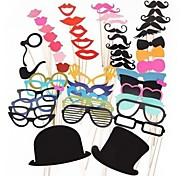 51 pcs stand de papel tarjeta de la foto de los apoyos divertido del favor de fiesta (gafas& sombrero& bigote& sombrero)