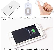 Qi wireless Charger Pad + Wireless Receiver Adapter + TPU Soft Clear Case Set for iphone 6 4.7 Inch