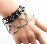 Men's Fashion Rivet Chain Leather Bracelet