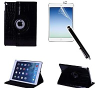 Crocodile PU Leather Full Body Case with Touch Pen and Protective Film 2 Pcs for iPad Air 2/iPad 6(Assorted Colors)
