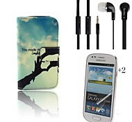 Hand PU Leather Full Body Case with Headset and Protective Film 2 Pcs for Samsung Galaxy Trend Lite S7390 S7392