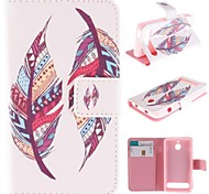 Colored Feather Patterns PU Leather Full Body Case with Stand and Card Slot for Sony Xperia E1