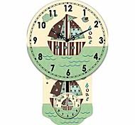 Mordern Ship Pattern Wooden Round Wall Clock
