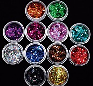 12Pcs Colors Laser Diamond Paillette Acrylic Nail Art Decoration