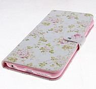 Cartoon Pink Flowers Pattern Leather Full Body Case with Stand and Card Slot for iPhone 6 Plus
