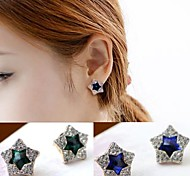 Fashion Korea Diamond and Gem Star Earrings  #23-1