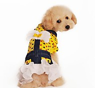 Cute Love Heart Angel Design Dress Clothes for Pet Dogs Yellow (assorted sizes)