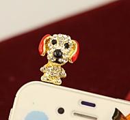 rhinestone caliente de la venta perrito lindo conector de 3,5 mm anti-polvo para el iphone (colores surtidos)