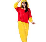 Kigurumi Pijamas Urso / Guaxinim Malha Collant/Pijama Macacão Festival/Celebração Pijamas Animal Vermelho / Amarelo Miscelânea Flanela