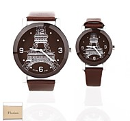 Personalized Gift New Style Couple's Brown Case PU  LeatherBand Quartz Analog  Engraved Watch