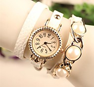 Women's Round Metal Chain Fashion Grand Pearl Leather Japanese Quartz Watch(Assorted Colors)