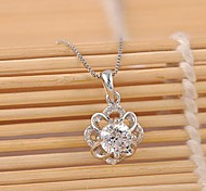 925 Diamond Flower Pendant Necklace High-Grade Iife
