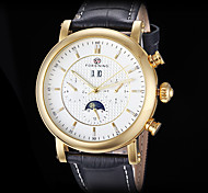 FORSINING Men's Auto-Mechanical Six Pointers Gold Case Leather Band Wrist Watch (Assorted Colors)