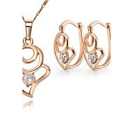 Z&X® European Style 18K Gold Plated Heart Shaped Pendant Necklace Earrings Jewelry Set (1 set)