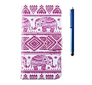 4.95 Inch Elephant Pattern PU Wallet Leather Case and Pen for LG Nexus 5