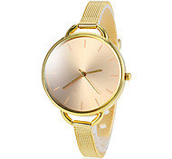 Women's Gold Round Dial Alloy Band Quartz Wrist Watch