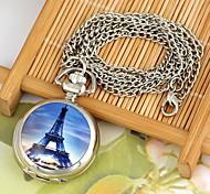 Frauen paris Turm runden Zifferblatt Quarz-Legierung Halskette uhr weiß k (1pc)