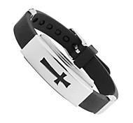 BF s Designer Black PU Leather Wristband Men's  304L Stainless Steel Men's Bracelet Christmas Gifts