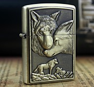 Earth Gold Wolves Pattern Metal Relief Oil Lighter