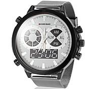 Men's Big Round Dial Steel Band Quartz Wrist Watch (Assorted Colors)