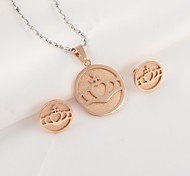 Fashion Rose Gold Round Titanium Steel (Necklace&Earrings) Jewelry Set