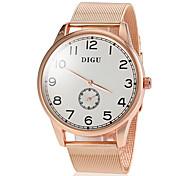 segundo ouro mostrador do relógio banda liga de quartzo moda masculina