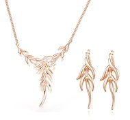 Z&X® European Style 18K Gold Plated Leaves Pendant Necklace Earrings Jewelry Set (1 set)