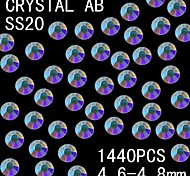 1440Pcs 4.6-4.8mm AB Color Glitter Flatback Crystal Rhinestone Nail Art Decoration