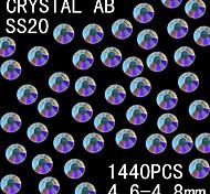1440pcs 4.6-4.8mm de color ab brillo cristalino del rhinestone flatback decoración del arte del clavo