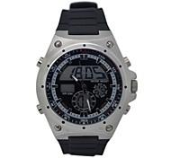 HY-8 Men's Fashion Silicone Band Round Dial Quartz & LED Electronics Dual Time Display Wrist Watch (1 x CR2016)