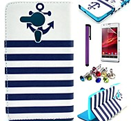 Striped Anchor Pattern PU Leather Case with Screen Protector and Dust Plug for Sony Xperia SP M35h