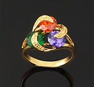U7® AAA+ CZ Stone Colorful Cubic Zirconia Cluster Ring 18K Real Gold Plated